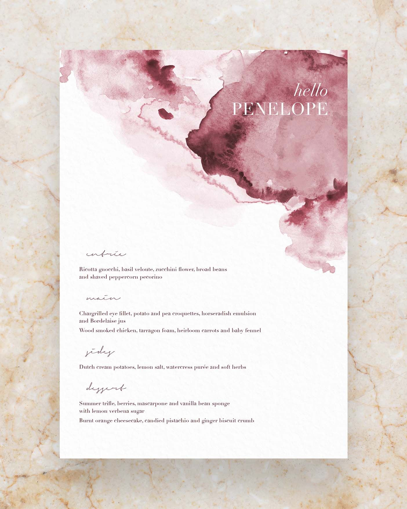 Personalised Menu - Watercolour