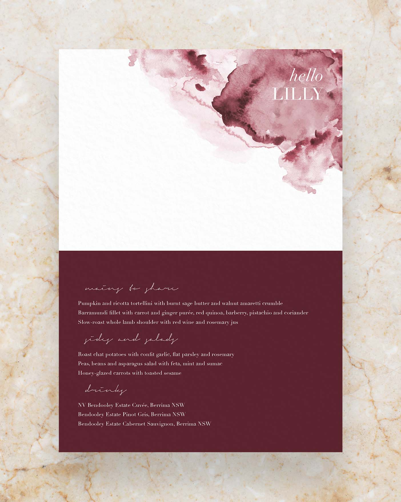 Personalised Menu - Folded