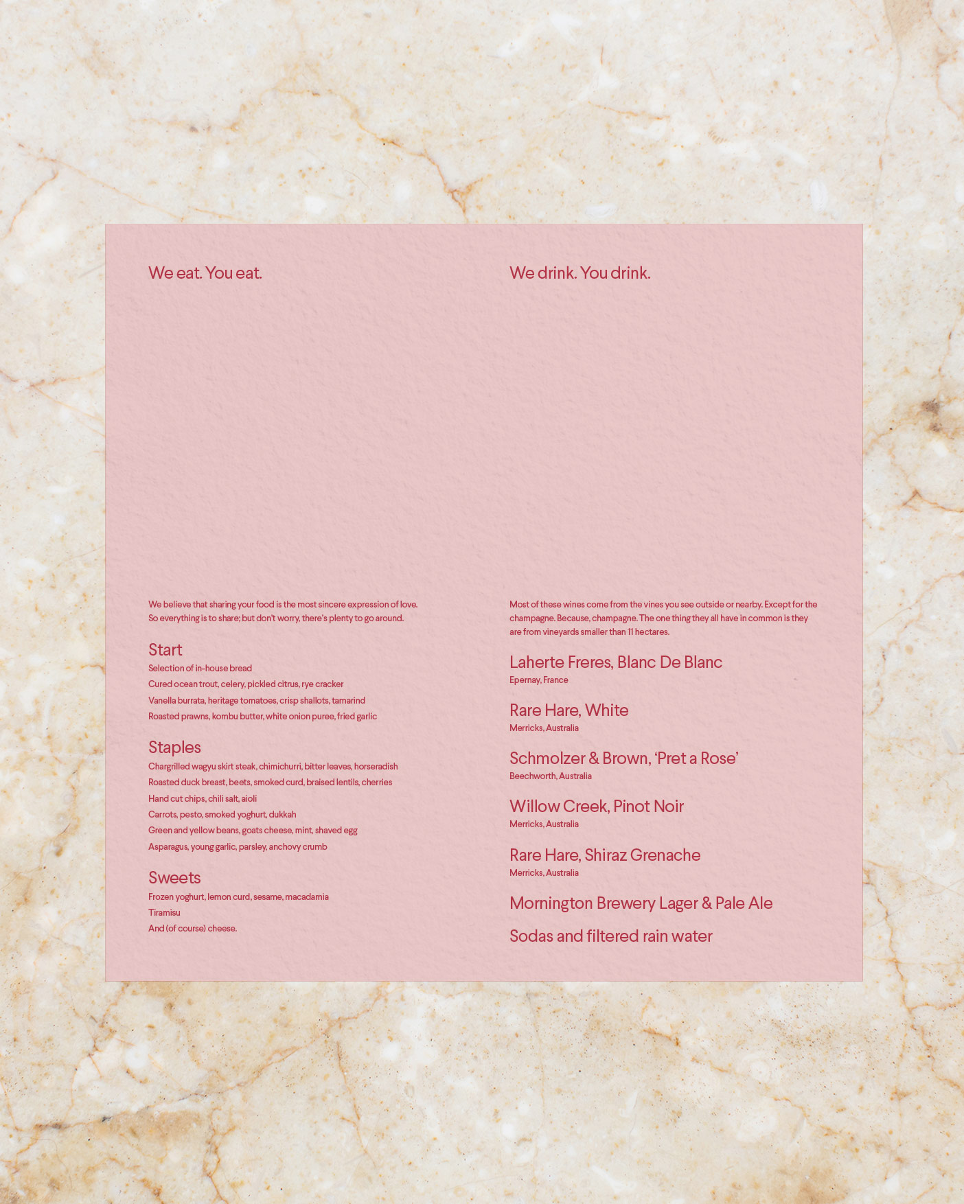 Origami Menu Open - Blush