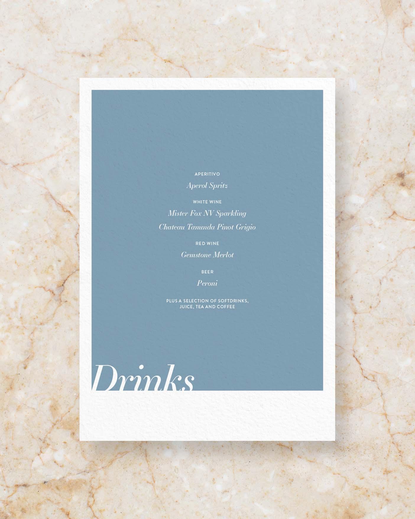 Drinks Menu II - Blue