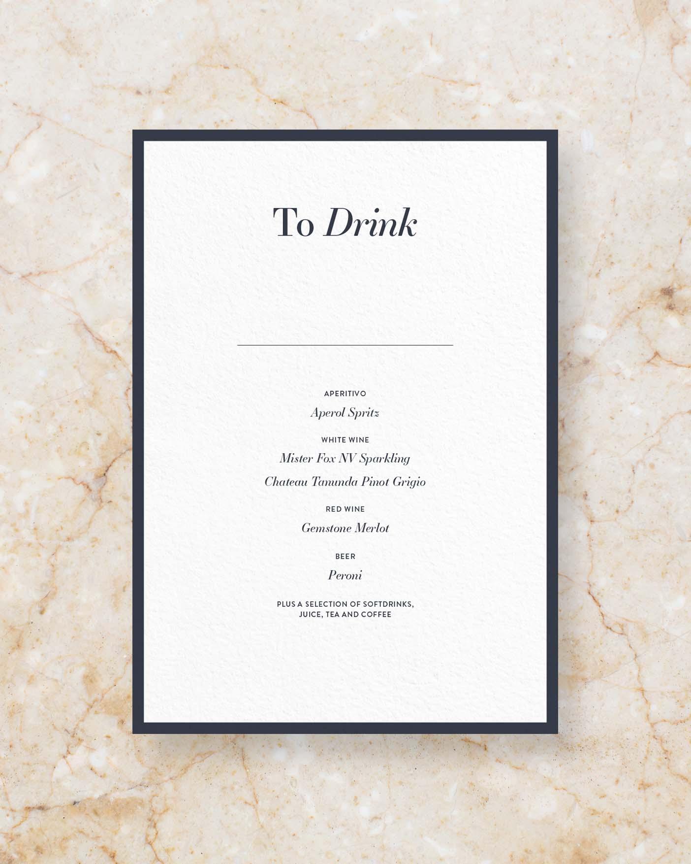 Drinks Menu I