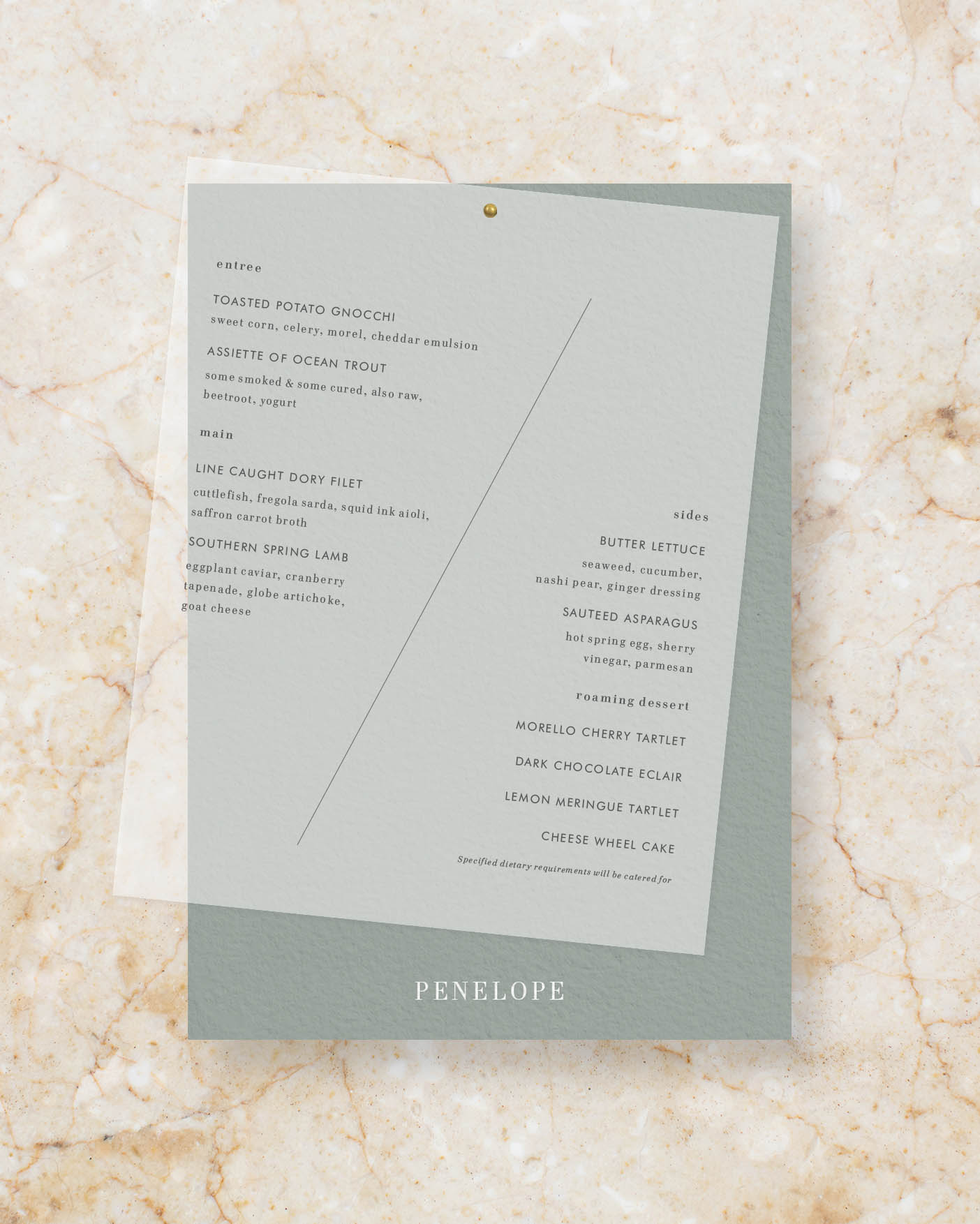 Personalised double layer menu - Sage