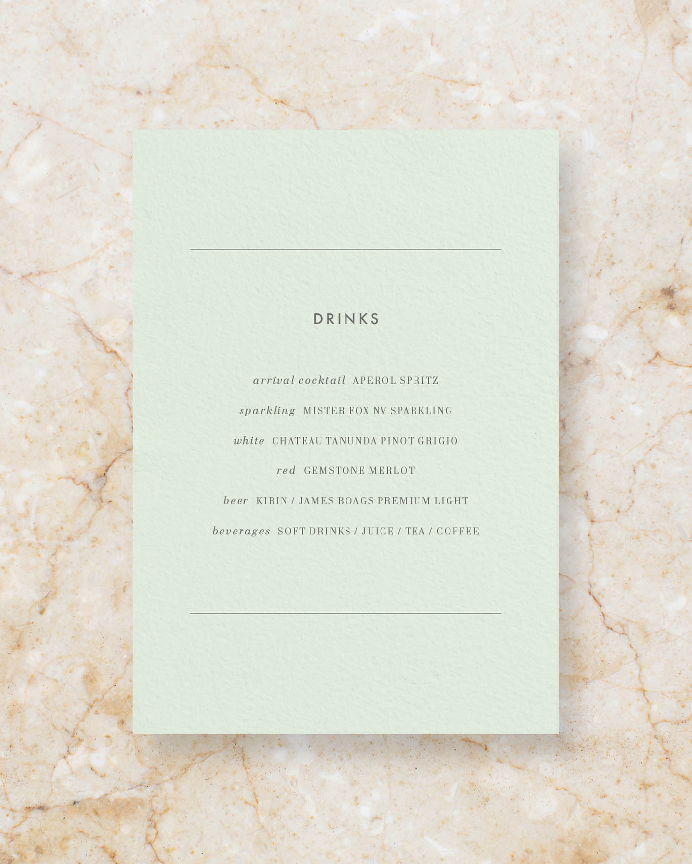 Drinks menu A5 - Powder Green