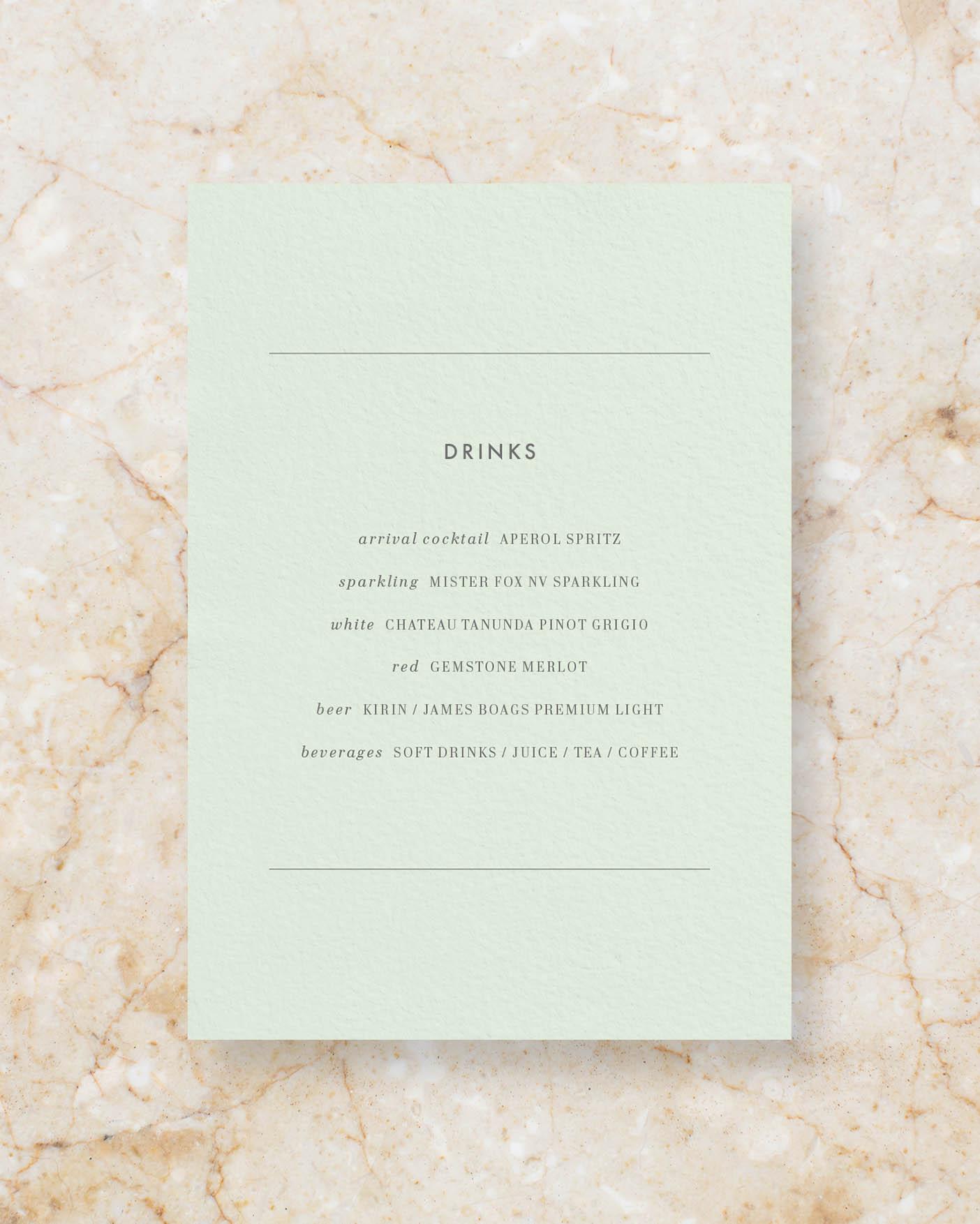 Drinks menu A5 - Powder Green