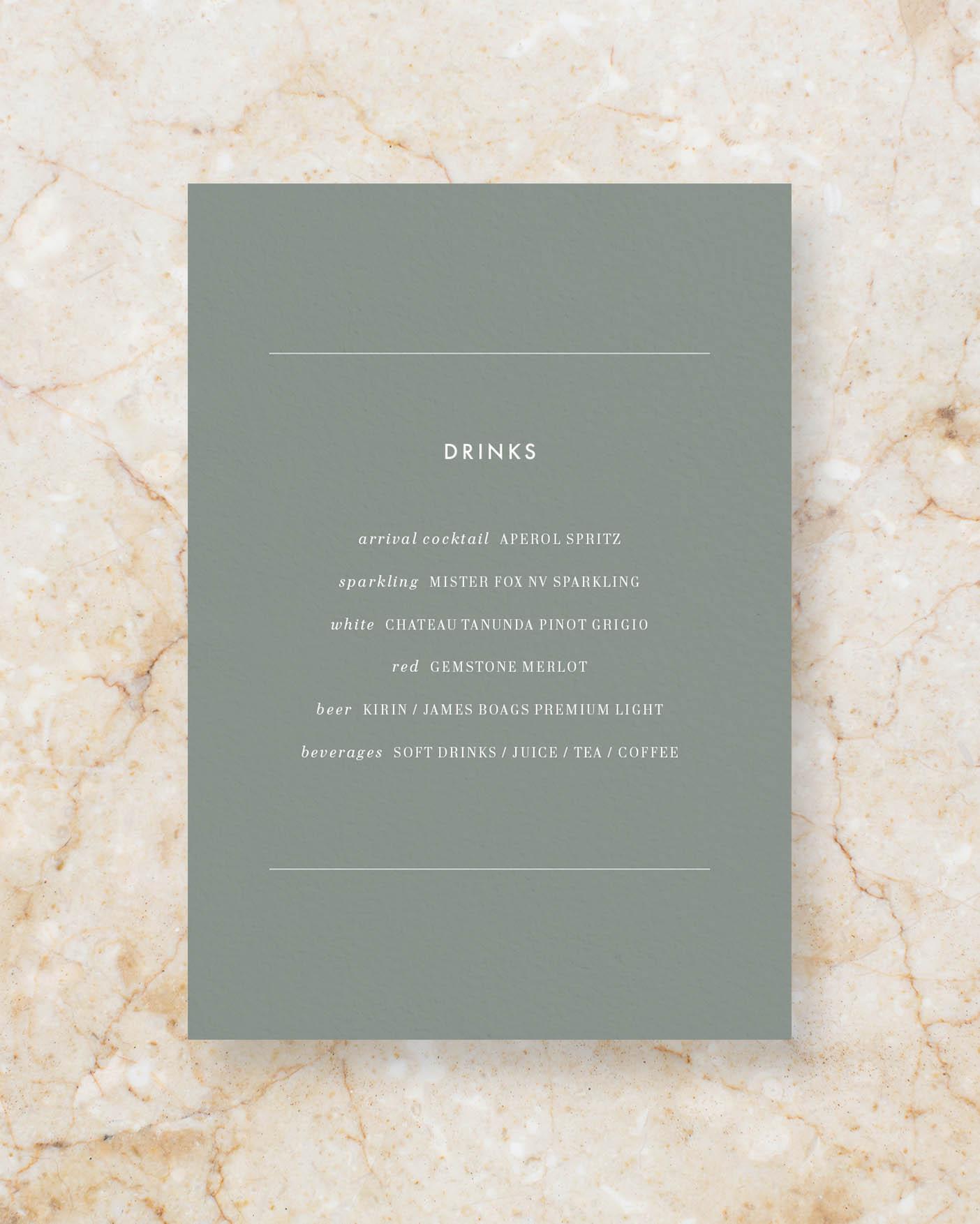 Drinks menu A5 - Sage