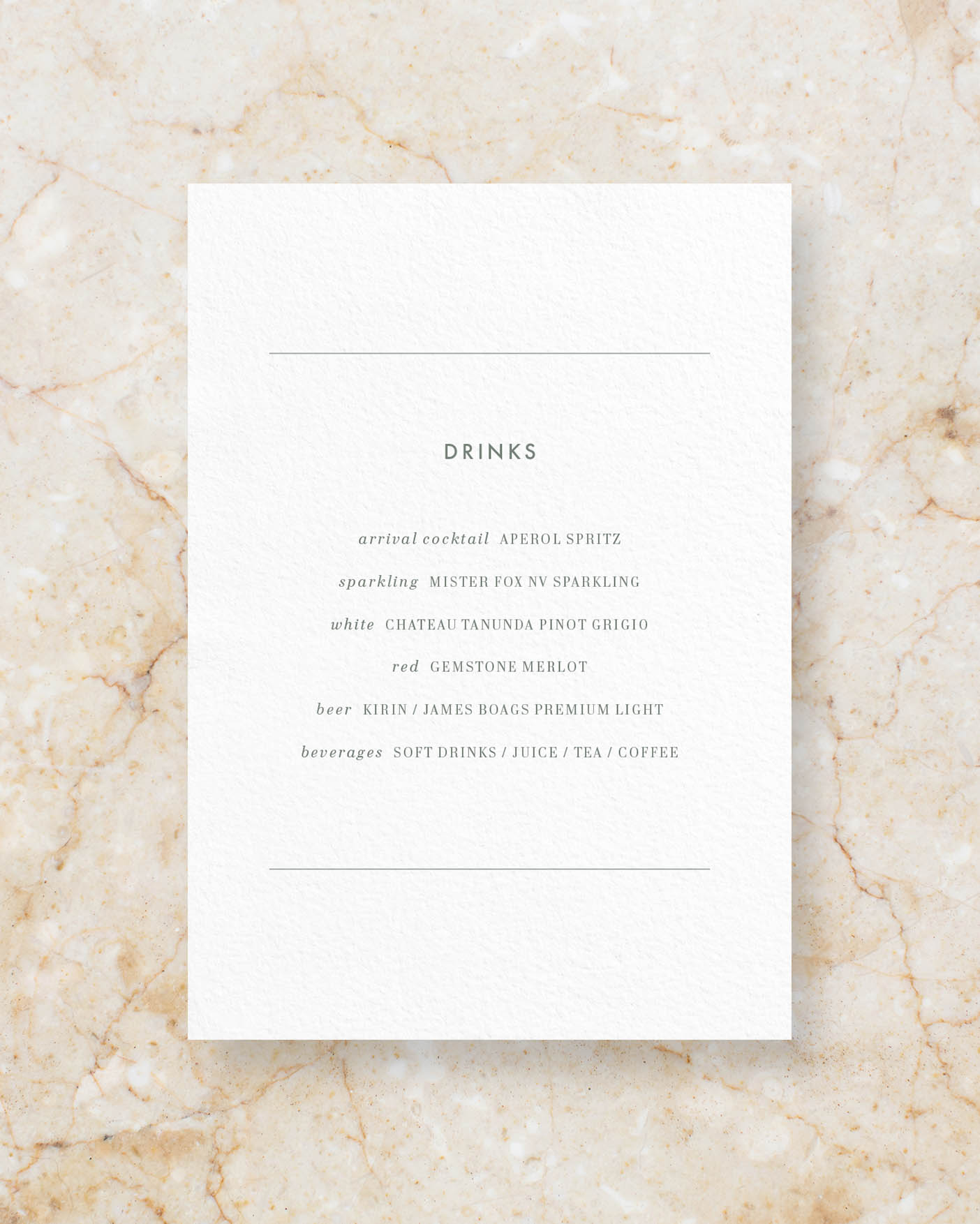 Drinks menu A5 - White