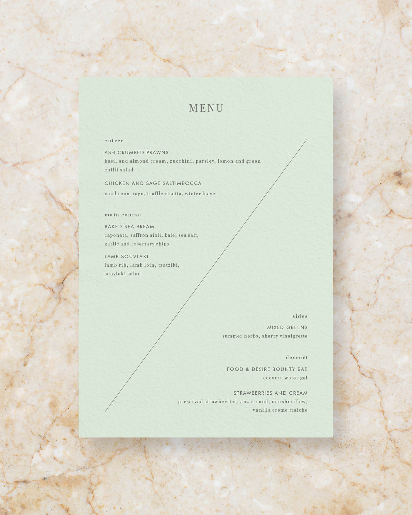 Menu back - Powder Green