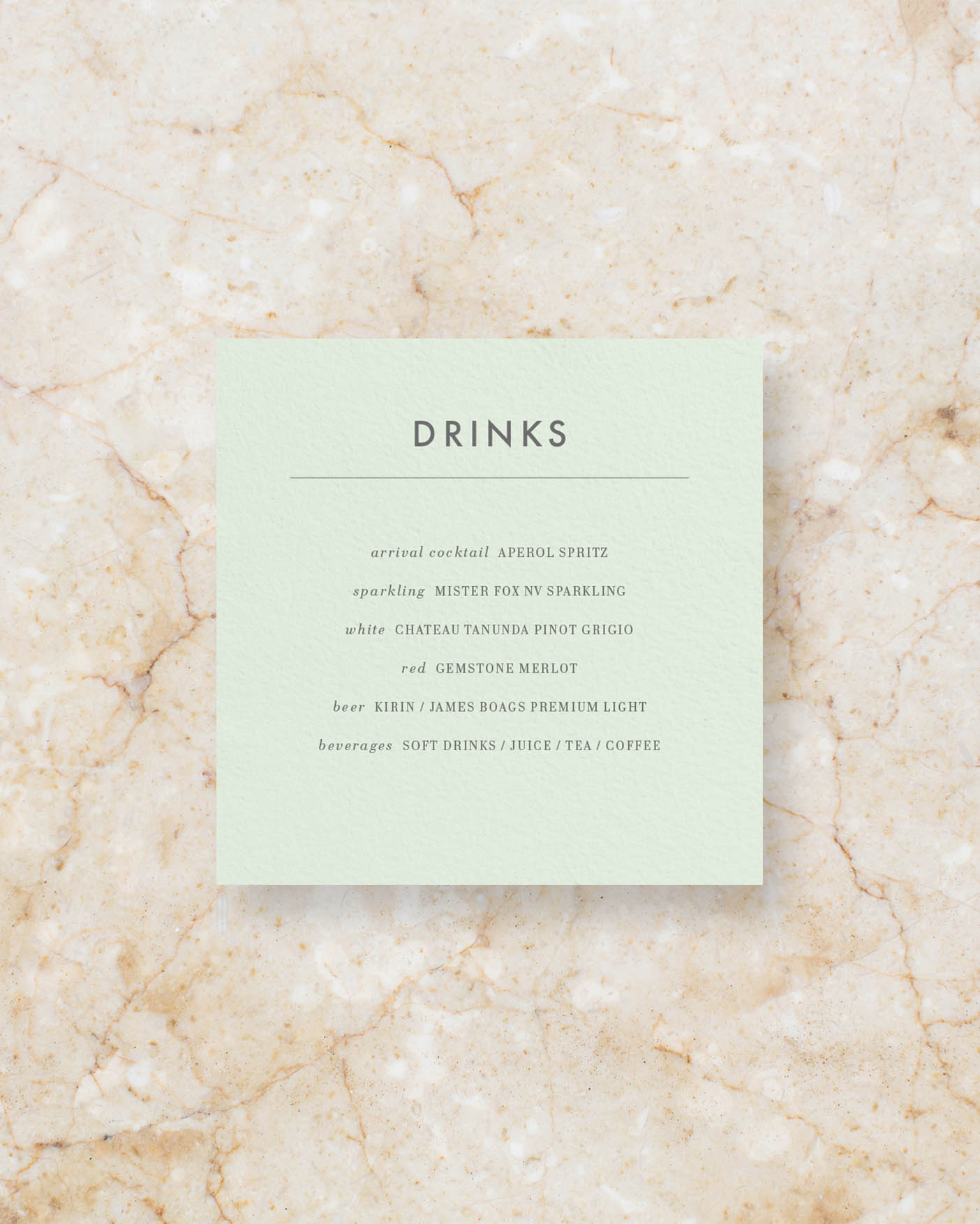 Drinks menu square - Powder Green