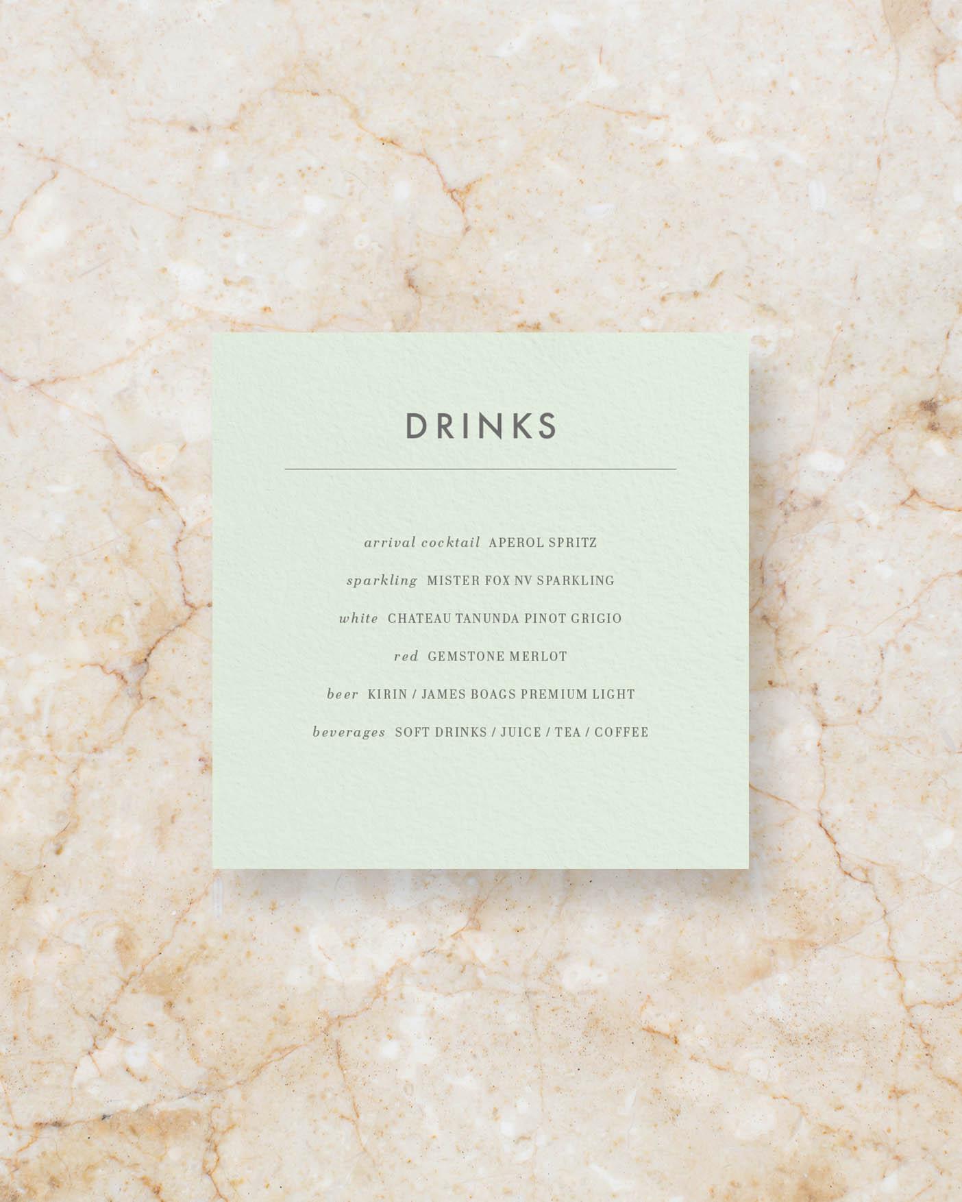 Drinks menu square - Powder Green