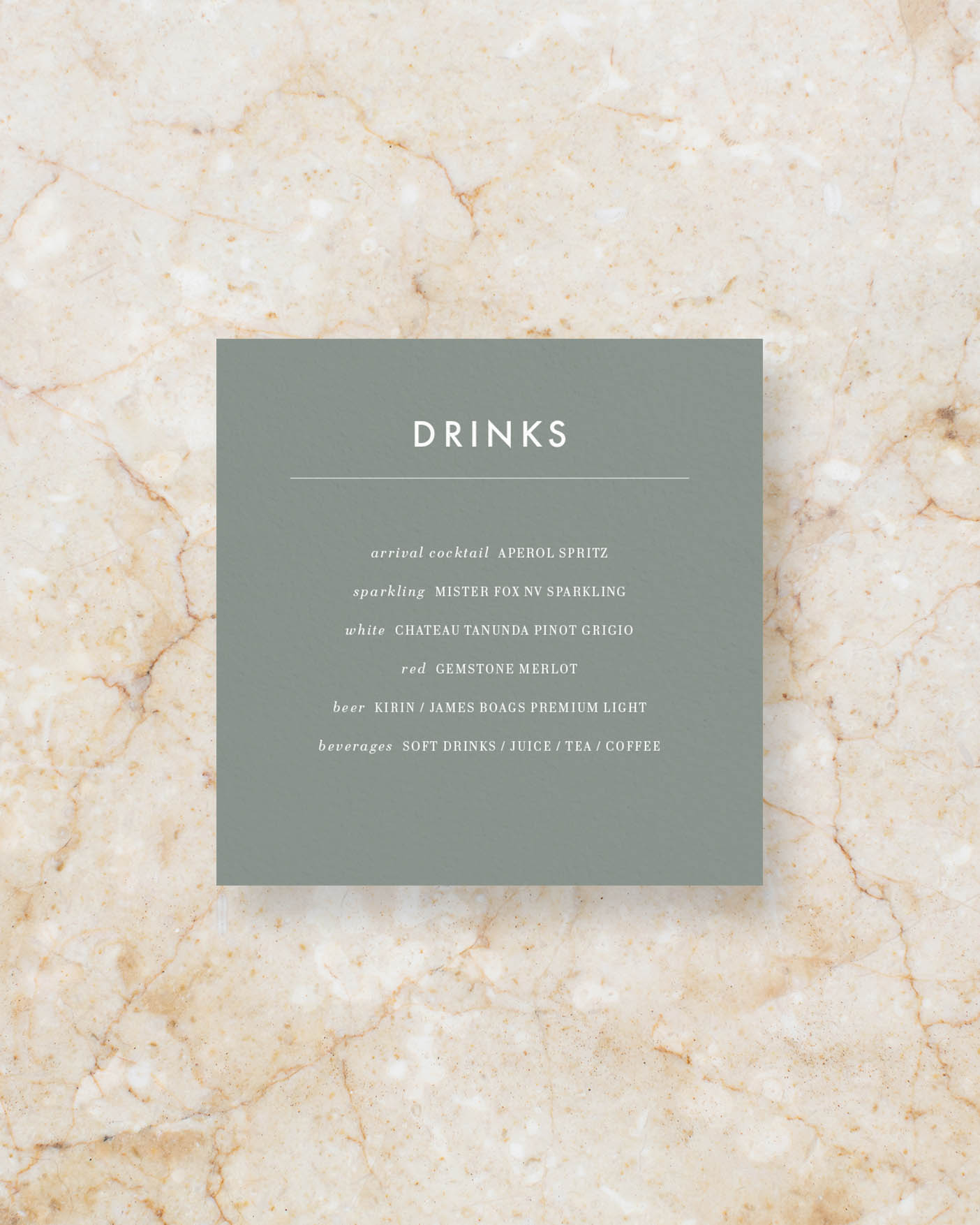 Drinks menu square - Sage