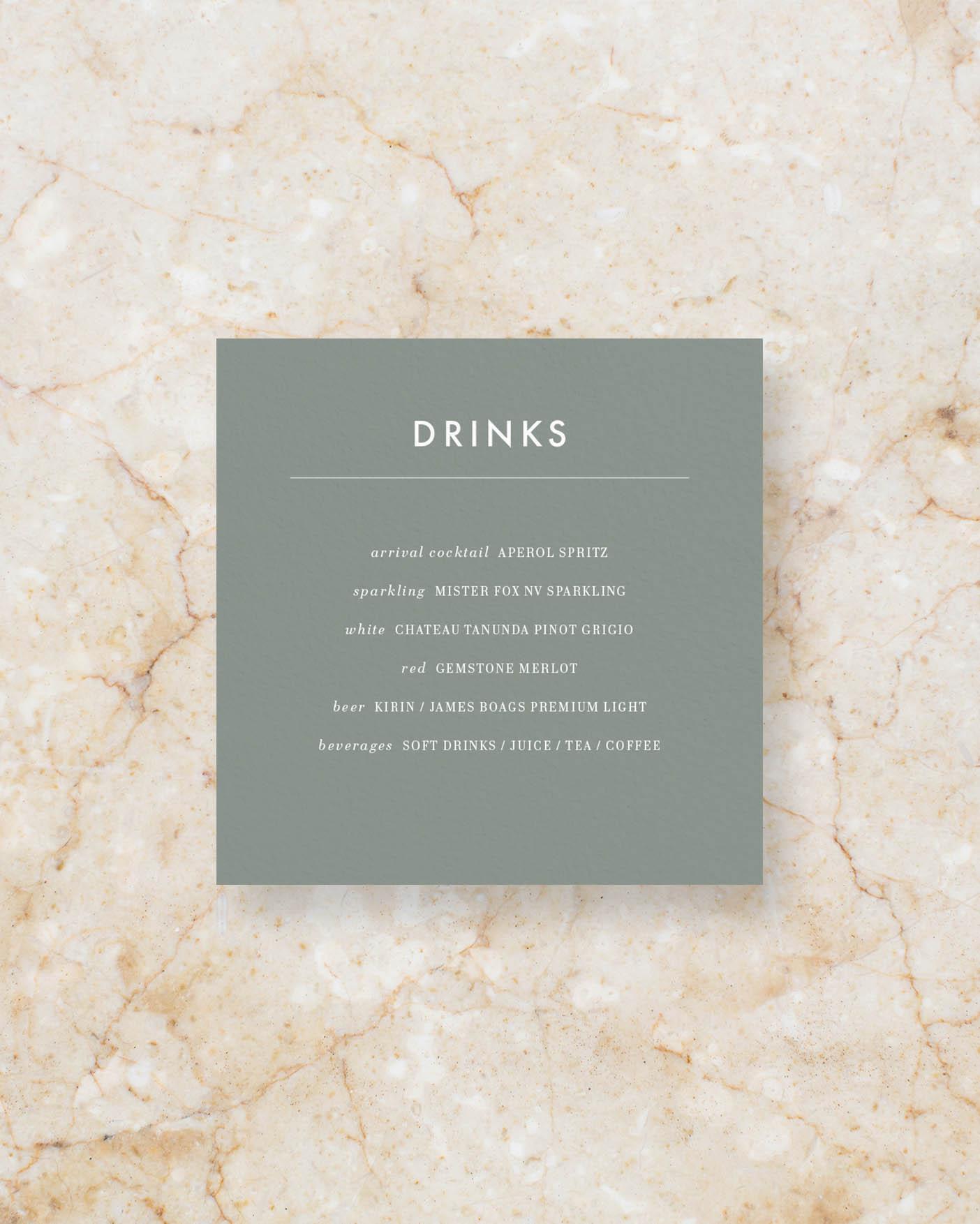 Drinks menu square - Sage