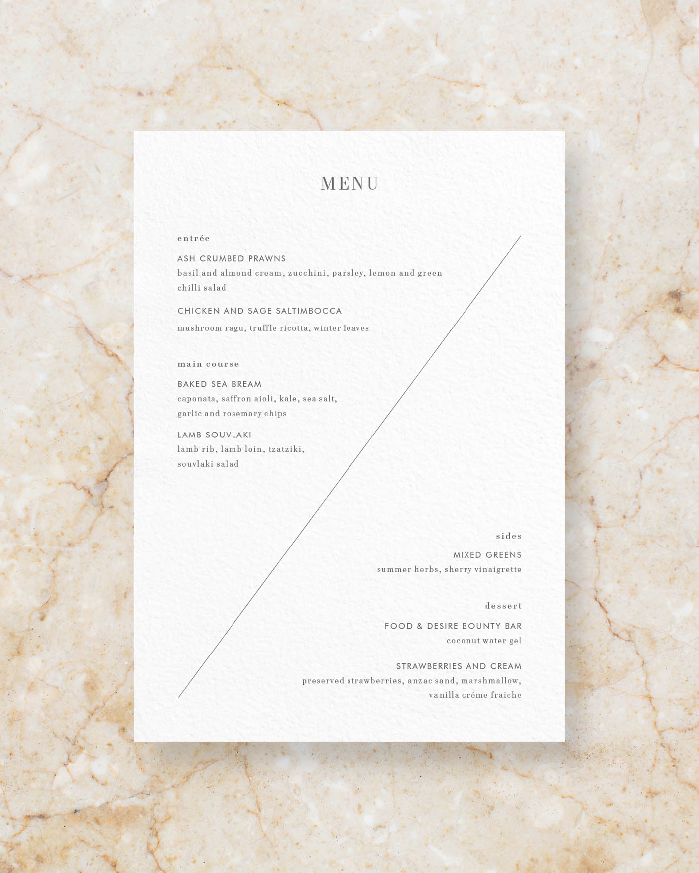 Menu back - White