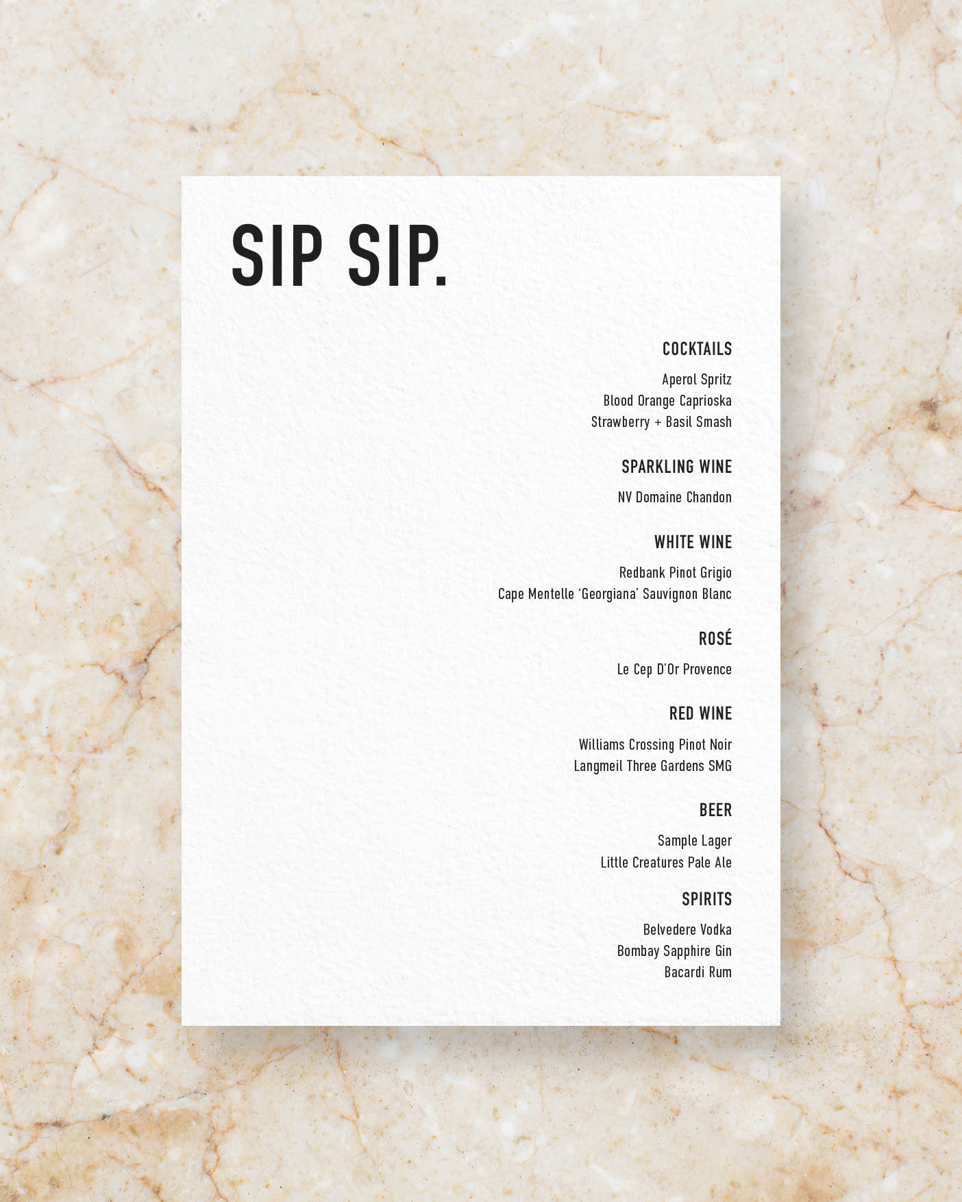 Drinks Menu - White