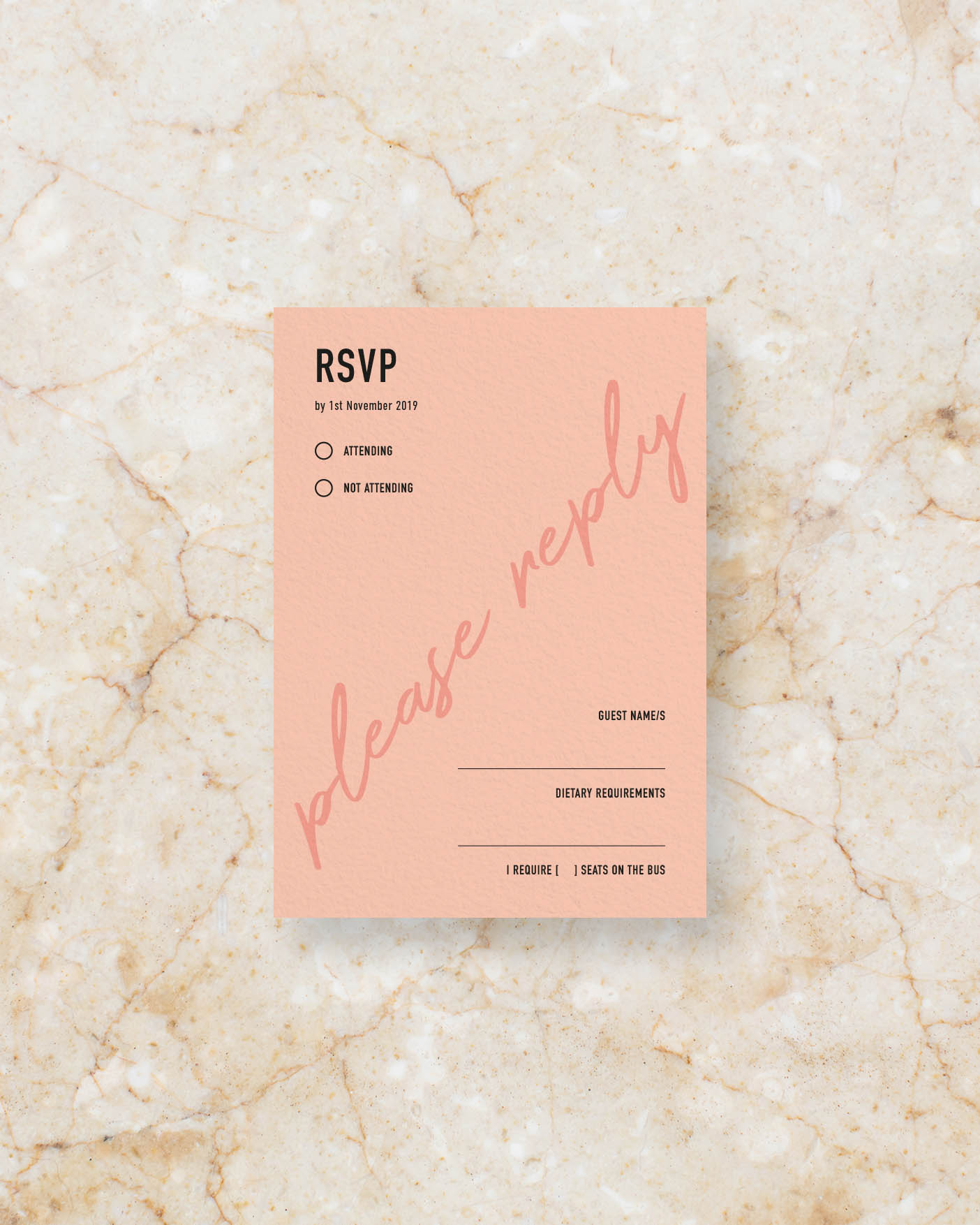 RSVP Card Back - Peach