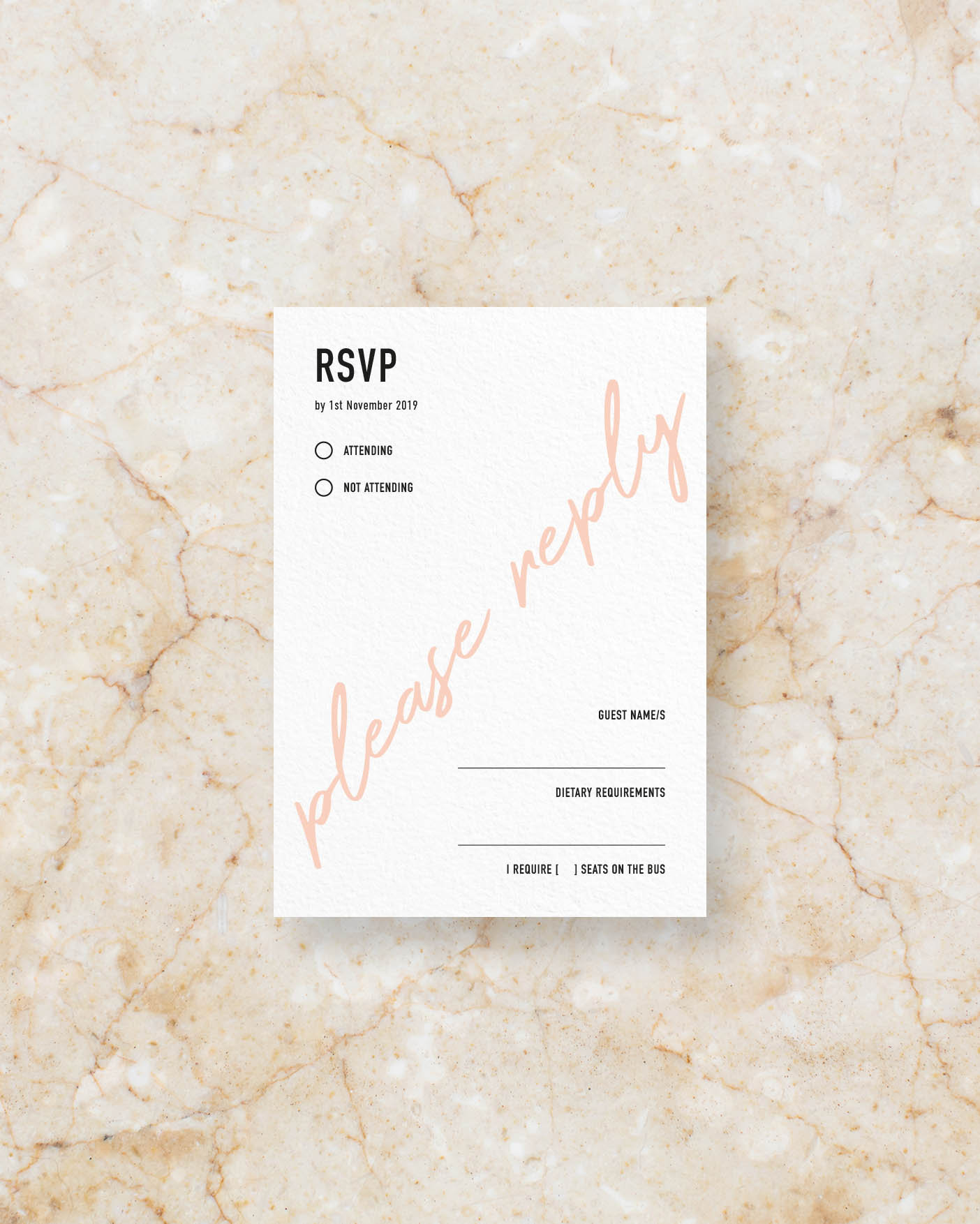 RSVP Card Back - White