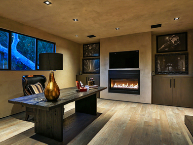 Sun Sentinel  Polished soft concrete and chocolate oak floors give the roughly 7,300 square feet of living space a subdued vibe. Open-plan living areas include a great room, an office/den and a media room.