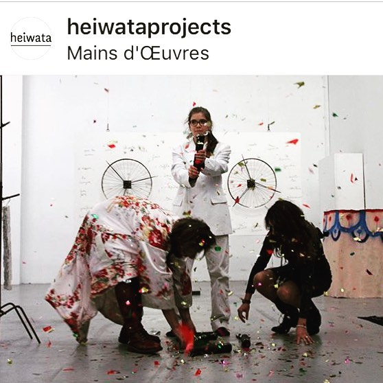 "#Repost @heiwataprojects ・・・ Kim Bradford & Joseph Perez for exhibition ""Quart d'heure américain"" at @mainsdoeuvres • Kim Bradford & Joseph Perez @jolegitan are interpreting an art piece by Robert Filliou, ""Danse-poème collectif, (à performer deux par deux, chacun(e)s tournant une roue)"", 1962.  In the frame of ""Quart d'heure américain"" - Performances, concerts and poetry at Mains d'Œuvres, a proposal from heiwata (Elsa Delage, Anaïs Lepage, Alma Saladin, Aurélie Vandewynckele)."" • With Robert Filliou, Joel Andrianomearisoa & Ivan Krassoievitch, Alex Ayed & Georgia Dickie, Cecile Bouffard & Matthieu Cossé, Corentin Canesson & Bastien Cosson, Martin Chramosta & Martina-Sofie Wildberger, Charlie Jeffery & Joshua Schwebel, Christopher Kulendran Thomas & Thu Van Tran. • And Kim Bradford & Joseph Perez, France Besnier & Julien Gasc, Jérémie Gaulin & Bertrand Poncet, HERSHEY / HITO (Catherine Hershey & Yohanna My Nguyen) • Curated by @heiwataprojects AKA @alma_sld @a__vdw @elsadelage @pucemoment_ • At @mainsdoeuvres • #exposition #performance #poetry #fluxus #robertfilliou #heiwata #heiwataprojects #heiwatawashere #quartdheureamericain #contemporaryart #collectiveshow #internationalartexhibition #mdoforever #mainsdoeuvres #performanceart #installationart #dansepoem #seer #throwconfetti #beercontest #partytime  #kimbradford #josephperez • 📸 @jeremy.benkemoun"