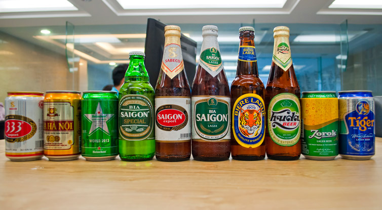 A rainbow of commercial beers available in Vietnam. from  City Pass Guide
