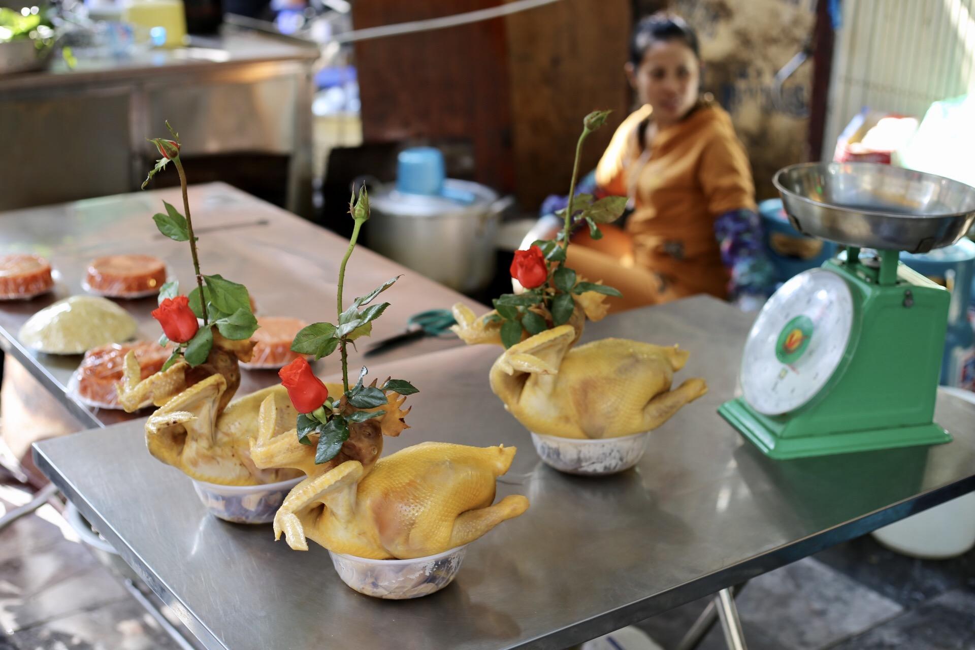 Vietnamese wedding chicken in a Hanoi market. No explanation needed.