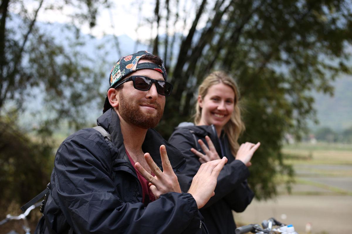 Reppin' the west coast on a bike ride through Mai Chau.
