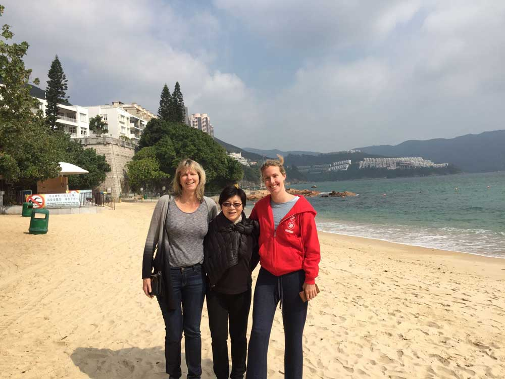 Rocking my Young Master hoodie on the beach with my Mom and Aunt Maggie in Repulse Bay, a 15 minute drive from Wan Chai.
