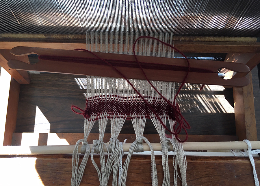 student's independently threaded loom, ready for weaving at the NCJWNY Council Lifetime Learning Center weaving studio, 2018