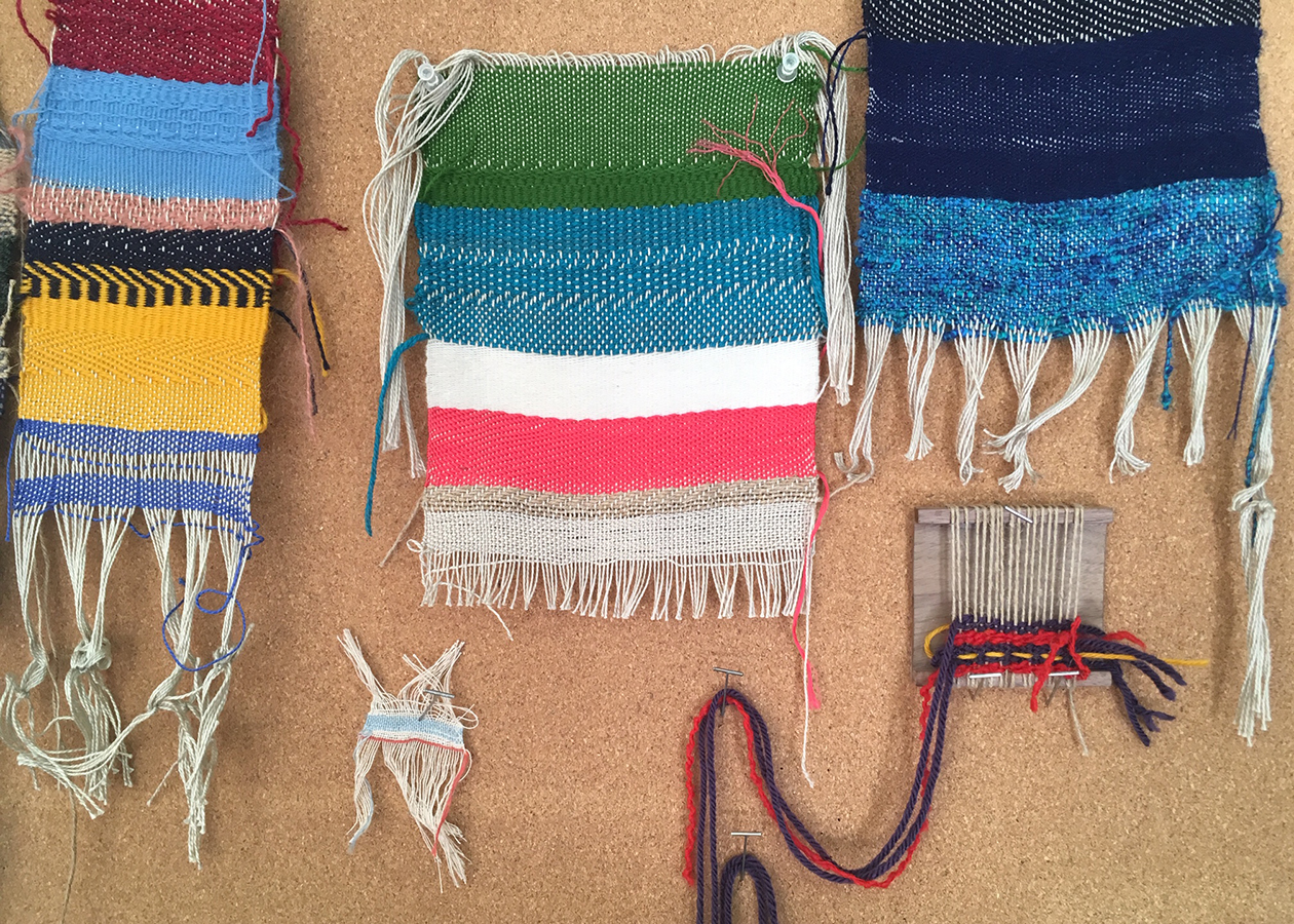 student work—samples and tests—NCJWNY Council Lifetime Learning Center weaving studio, 2018