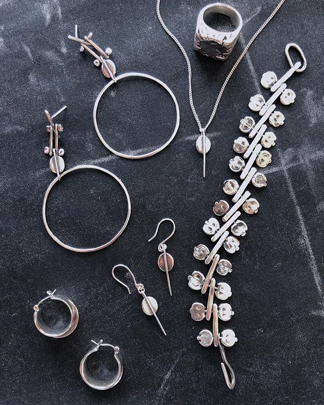 My line taking shape 🌩 I have so many pieces I'm excited to share later this summer.  A collection surrounding my desert Moonrise motif I've been refining since my first piece I made in Mexico over 3 years ago.  If there's one thing I've learned about my voice as a designer and as a metalsmith is that it's a practice - my eye and my skill will constantly develop and improve as long as I keep up my end of the bargain - putting in my time. ⚪️ Since moving on from my full time job to focus on my work, it's been a little like those key moments in movies like Lord of the rings or Harry Potter where the main character is exiting their safe haven and there is a scene full of supportive friends and mentors in the background as the main character walks away on the path before them.  The cheering begins to fade as they find themselves alone, in silence, and needing to figure their shit out, like, immediately.  I can't believe I'm making a Harry Potter analogy but I know you know what I'm talking about 😂  For me this next leg is a challenge that deeply excites me and scares me at the same time. I have a feeling that I'm in the right place and saying yes to the right things, with a little dash of flying by the seat of my pants because honestly that's how I've gotten this far.  Semi-Calculated risk, it's scary but it's supposed to be, right?  Now my support system is with me in other ways and I'm looking a lot to my left and my right at the people who are in the same boat starting their businesses as well.  We are helping each other steer the ship to reach a common destination and it's a hell of a lot better than having to do it alone.  Stay tuned ✨
