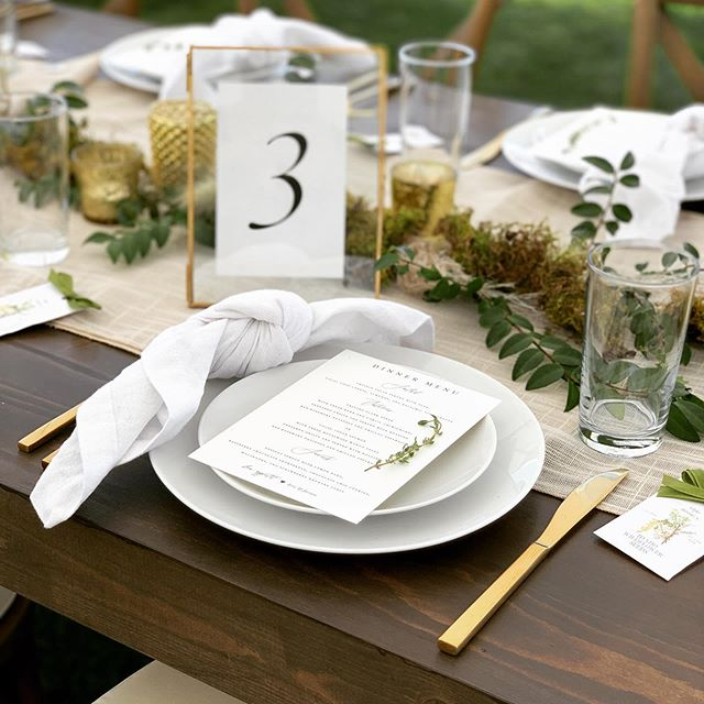 Check out these place settings!  New textured 100% cotton napkins are now available for rent at @blisseventsboise  They debuted last night and they were stunning! They paired perfectly with the Colins water glass and gold flatware from @idahotentsandevents and the Coupe plates from @eventrentidaho and of course, we always have time to add a fresh sprig of Thyme 🌱