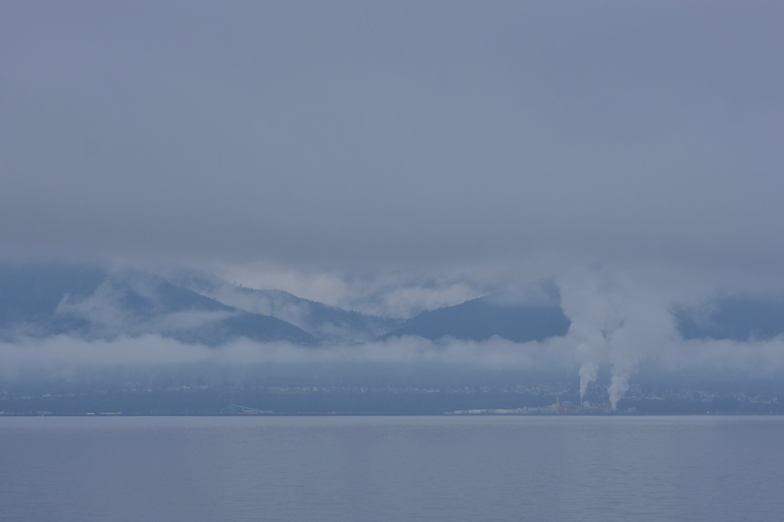 Port Angeles from the strait; That is actually a wood burning power plant.
