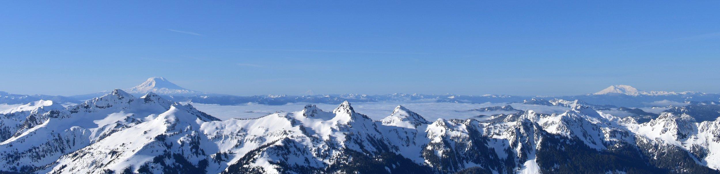 Left to Right: Mt. Adams, Mt. Hood, Mt. Saint Helens