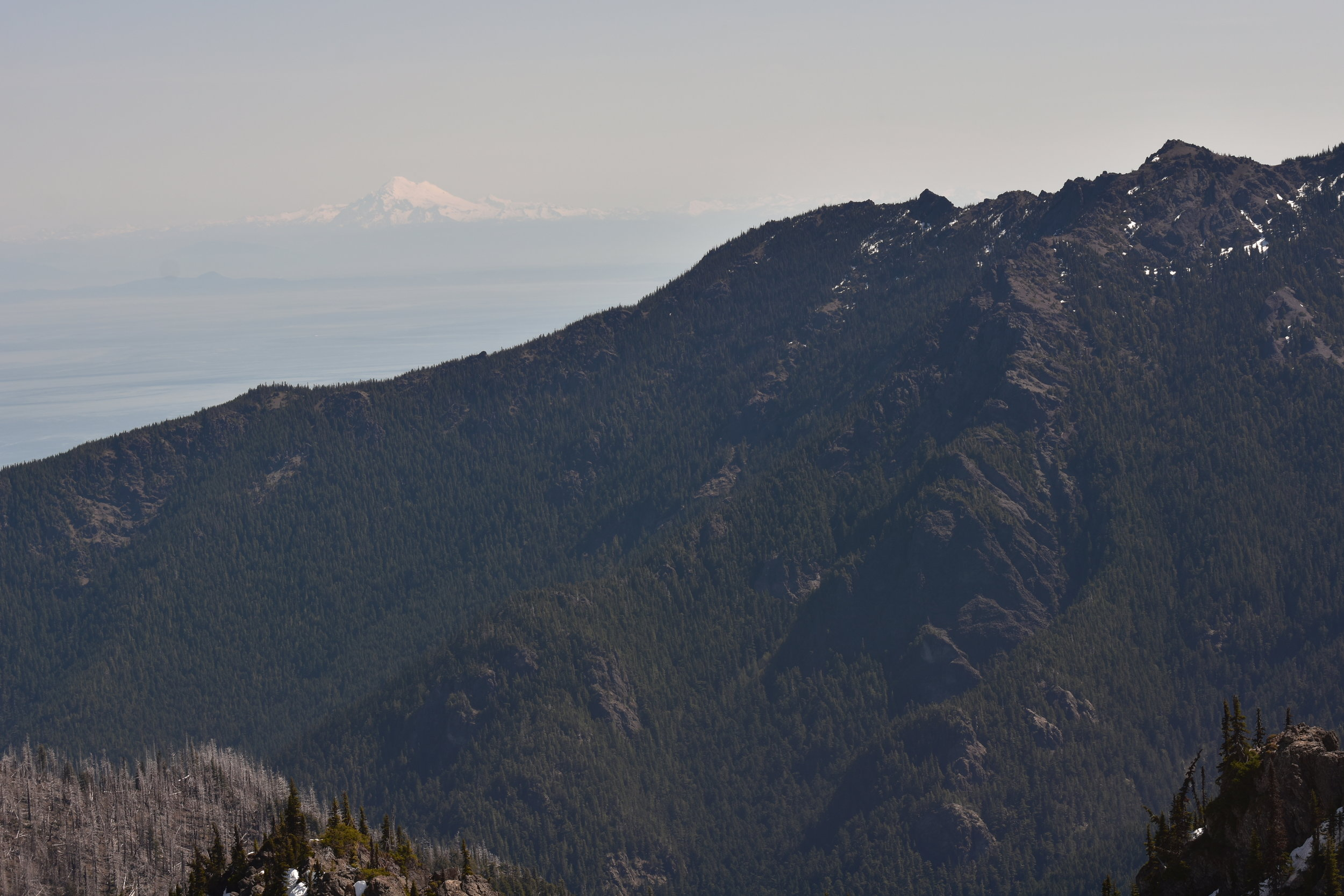 Mt. Baker behind volcanic olympic rock
