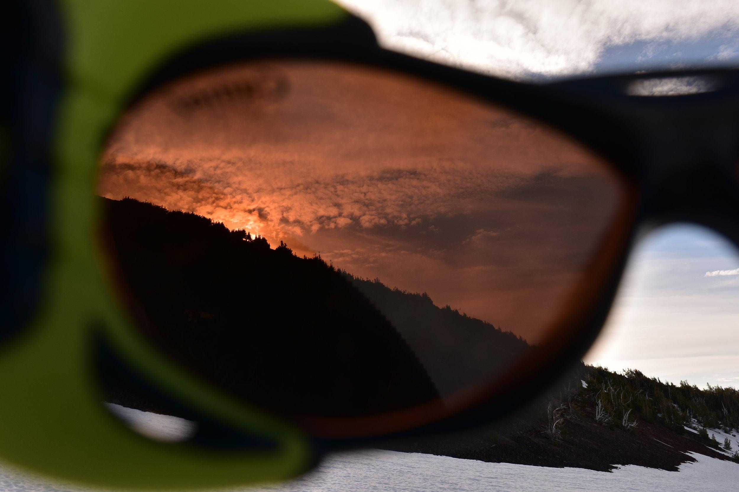 Sunrise through polarized glacier glasses