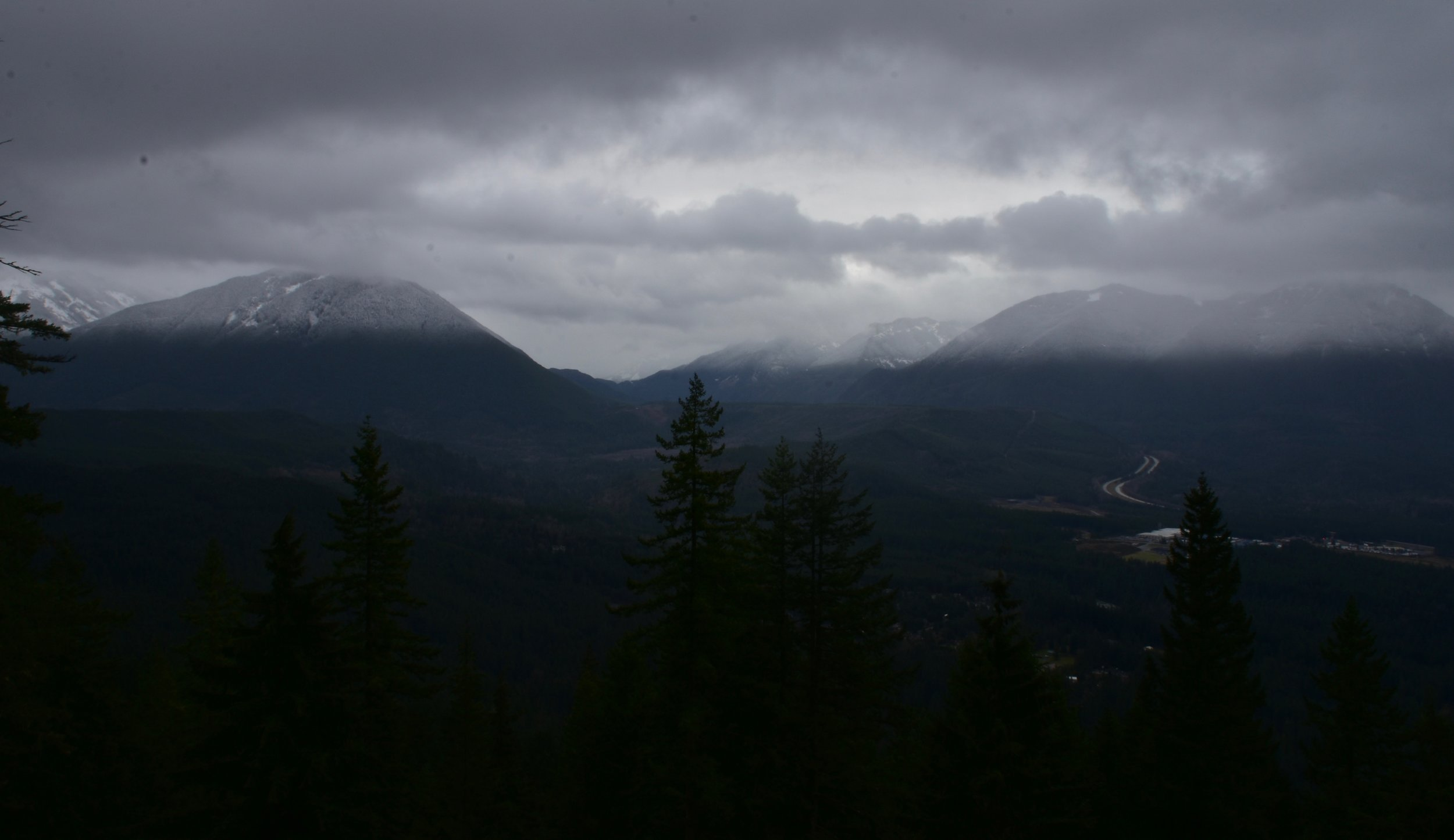 Looking over I-90 and under the clouds