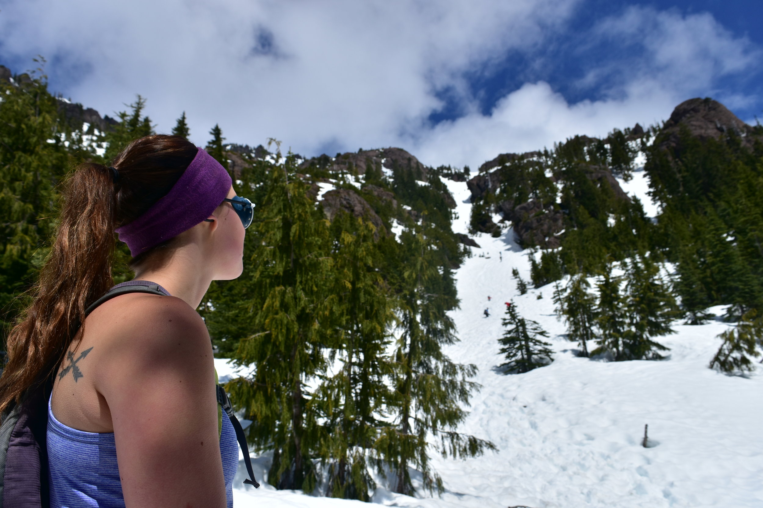 Emily peeping the couloir to the false summit