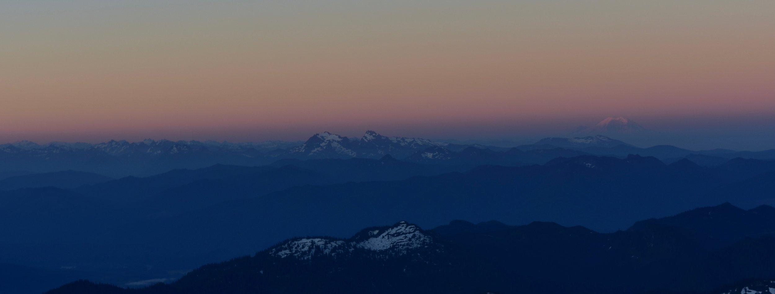 Rainier looking shy in the dawn