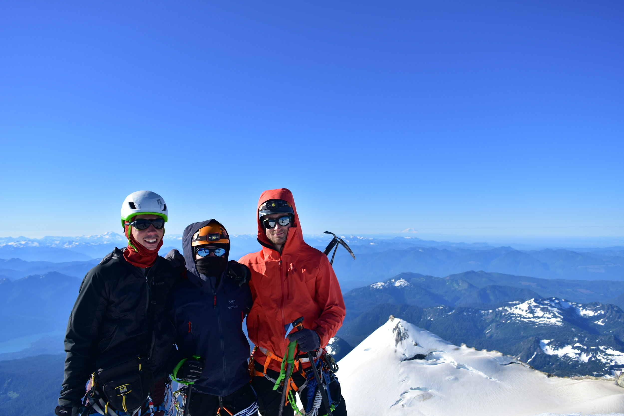 Mt. Baker summit; done with the 17,000+ ft of gain (including Rainier, which you can see in the background)