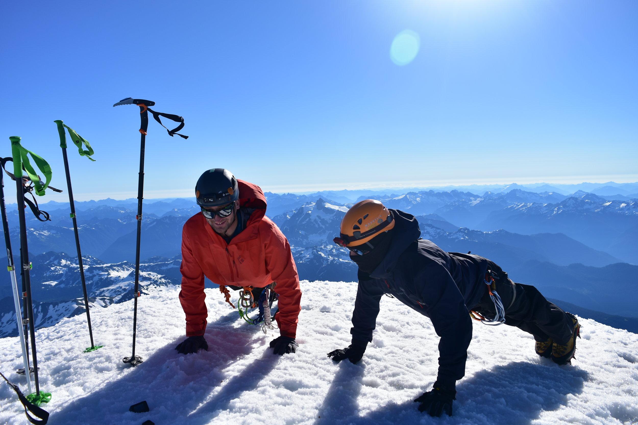 1 pushup for every 1,000 ft; if he dies, he dies.  Mt Shuksan just behind