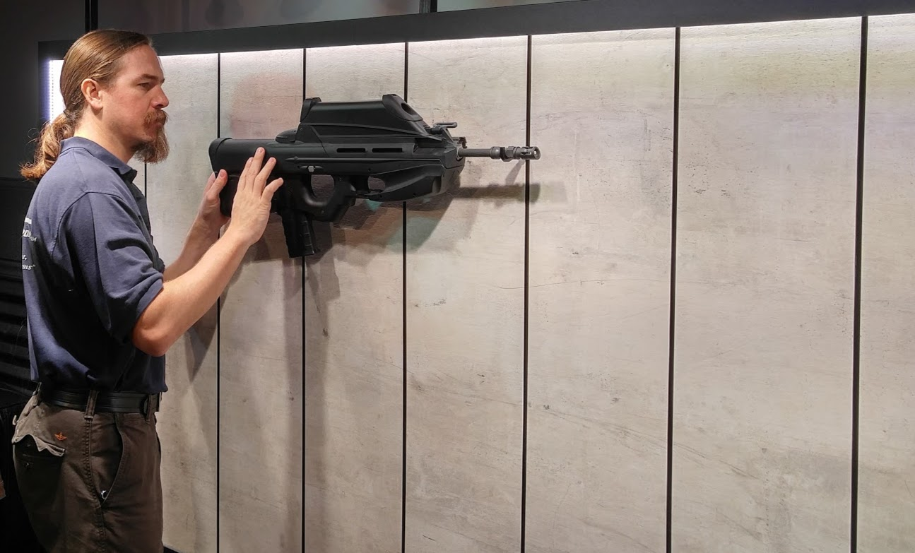 Ian McCollum from Forgotten Weapons.com test fits an FN2000 on Matrix Armory wall.