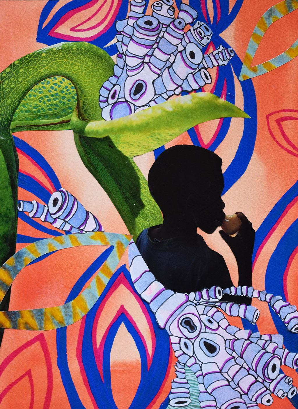 "Plant Spirit, 2016, 12"" x 9"", Mixed Media"