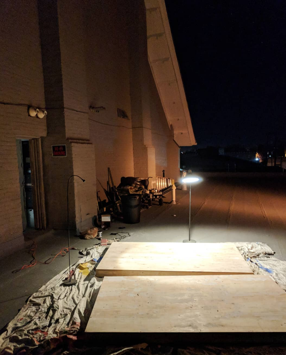 Late night wall prep on the roof of The Temple