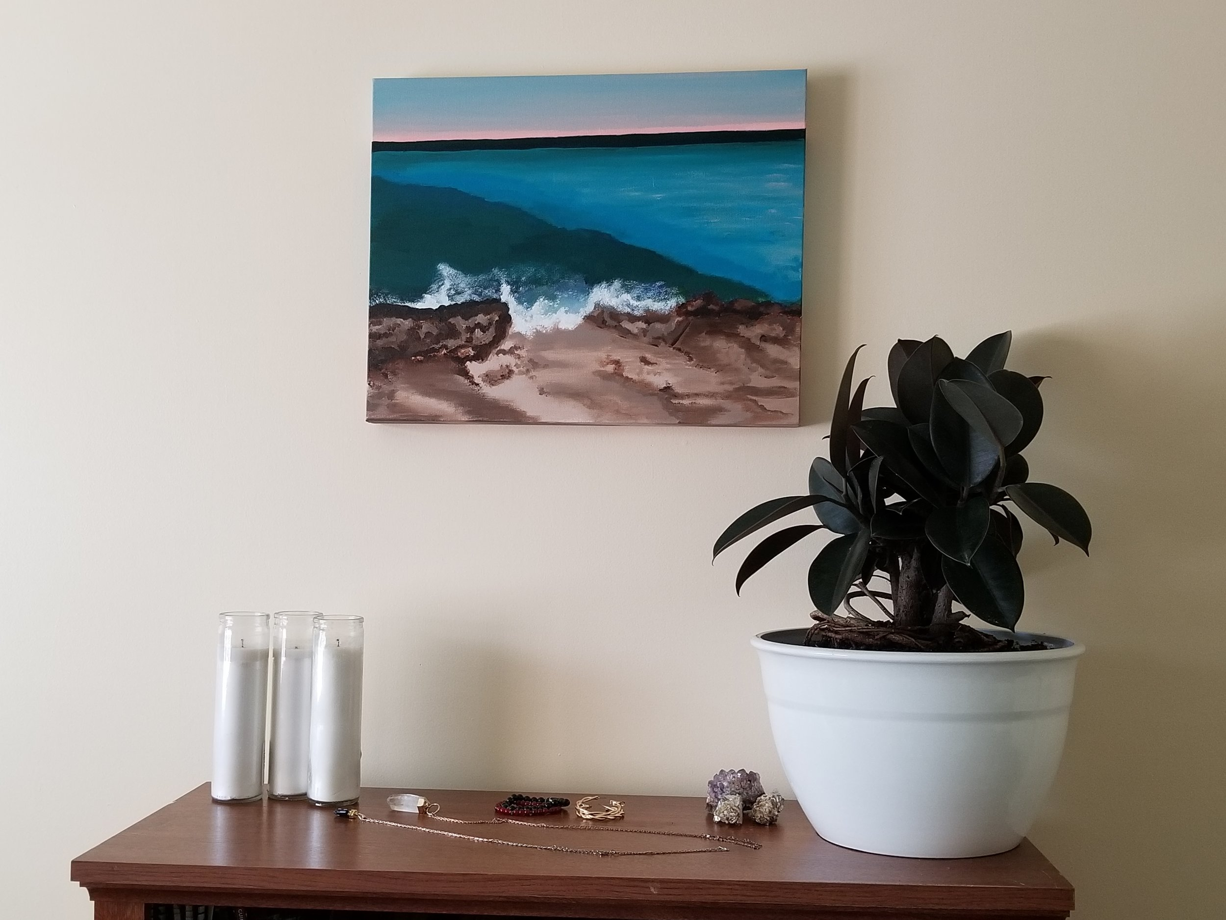 Beach Scene & Sunset Painting Collection - Various shades of blue, green and teal showcasing an array of colors created by the ocean plus beautiful living coral pink sunsets