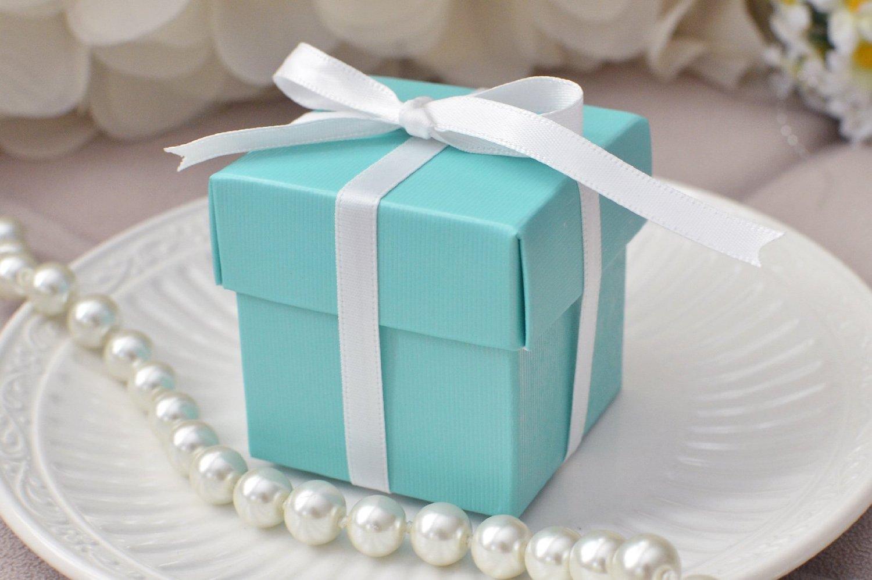 teal blue favor box