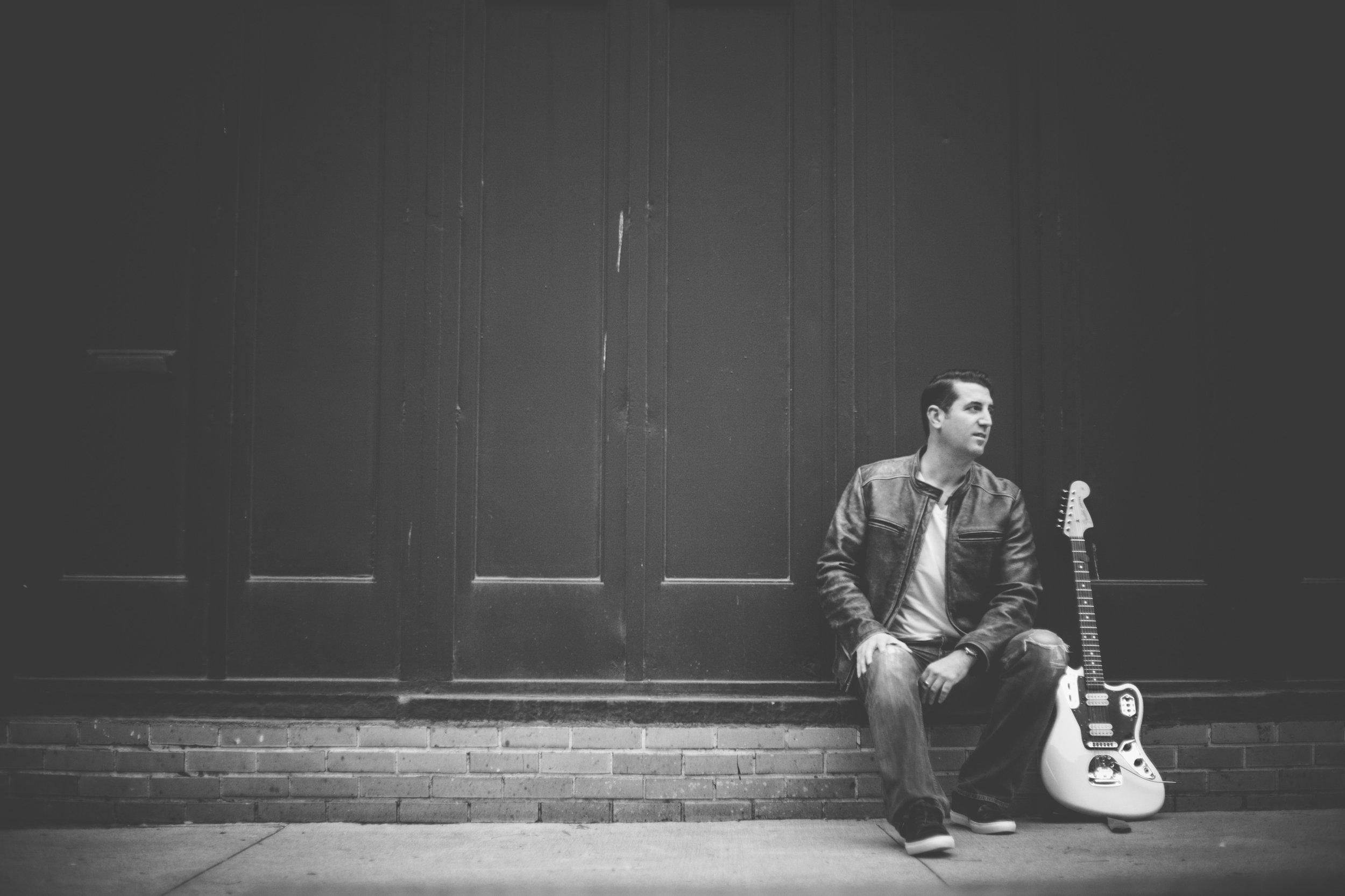 Sergio Gaetani in Detroit with his Fender Jaguar