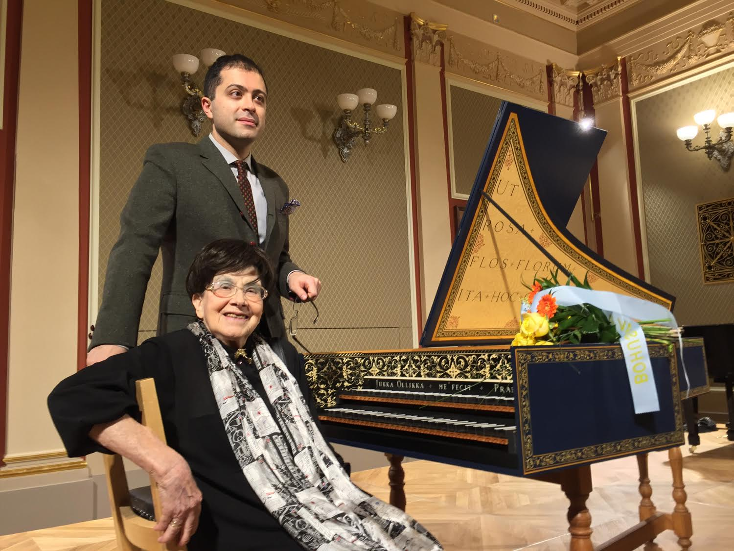 Zuzana Růžičková and her student Mahan Esfahani together at the harpsichord