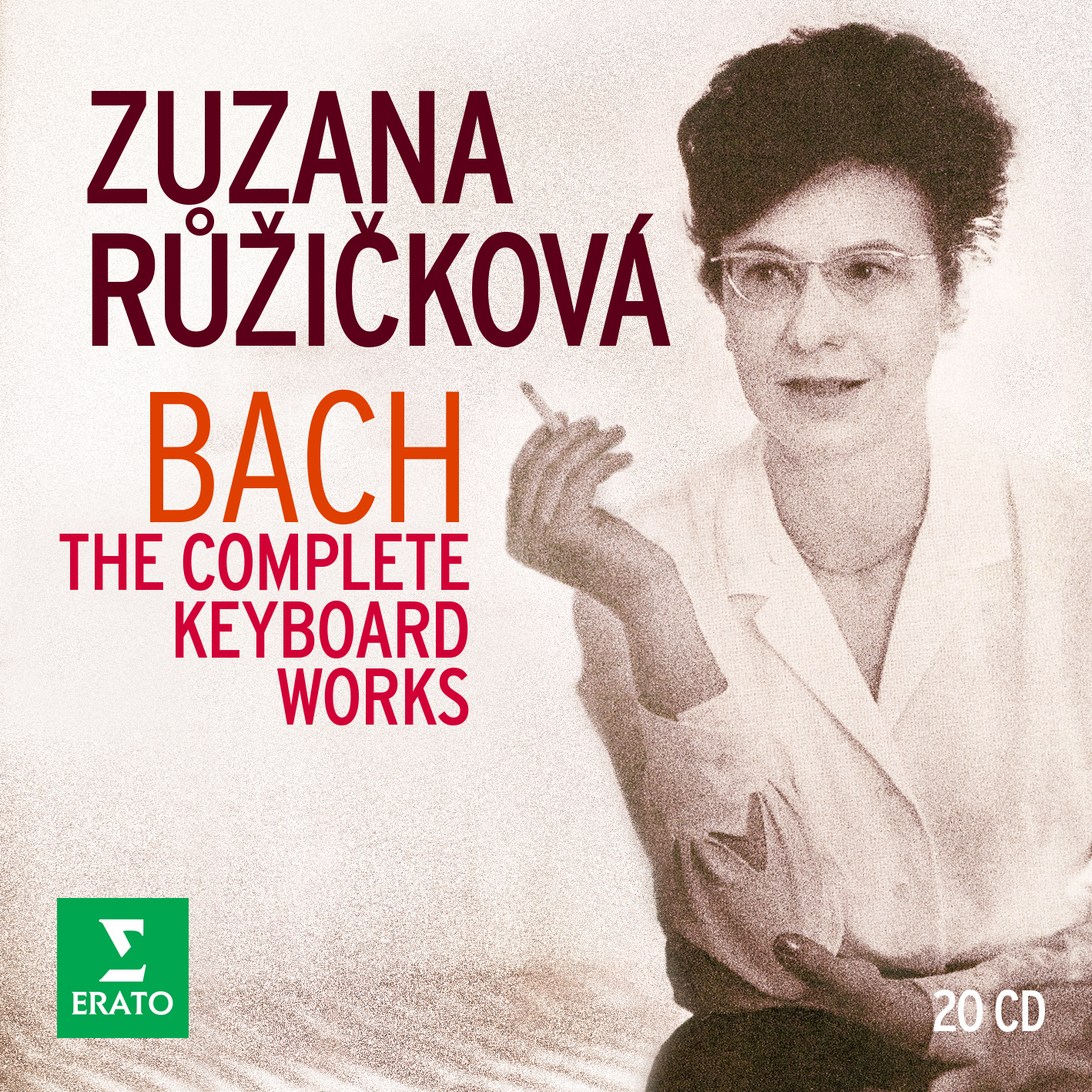 Cover art for Warner Classic's re-issued box set of Zuzana Růžičková´s complete Erato recordings of Johann Sebastian Bach. Remastered by Warner Music