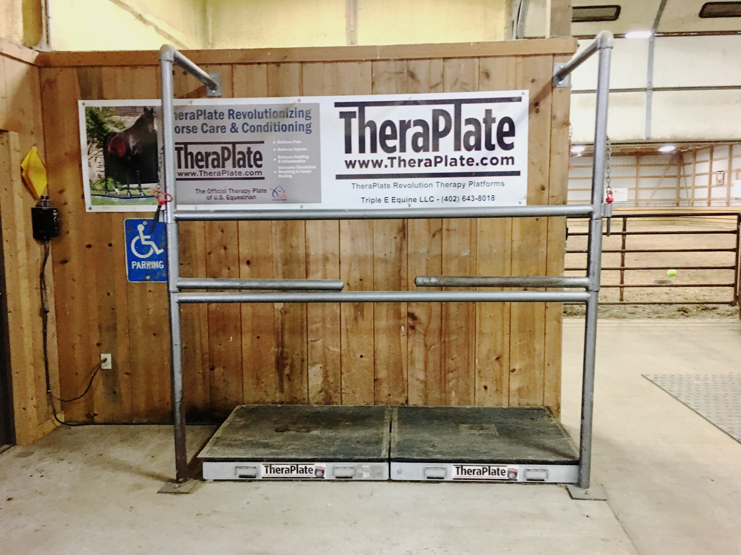 Now offering TheraPlate Sessions! - Spoil your horse and let them relax after a long trip or utilize some of the TheraPlate's treatment suggestions that fit your horse's needs.Price: $1 per minute. Most sessions/treatments are only 20 minutes long!Brief overview of the TheraPlate's benefits!Reducing Stress, Relieving Pain ,Reducing Swelling & Inflammation ,Increasing Circulation, Improving Joint Health and Function, Speeding Healing Time,Improving Balance, Increasing Bone Strength & Density, Increasing Digital Cushion Circulation… and so much more!