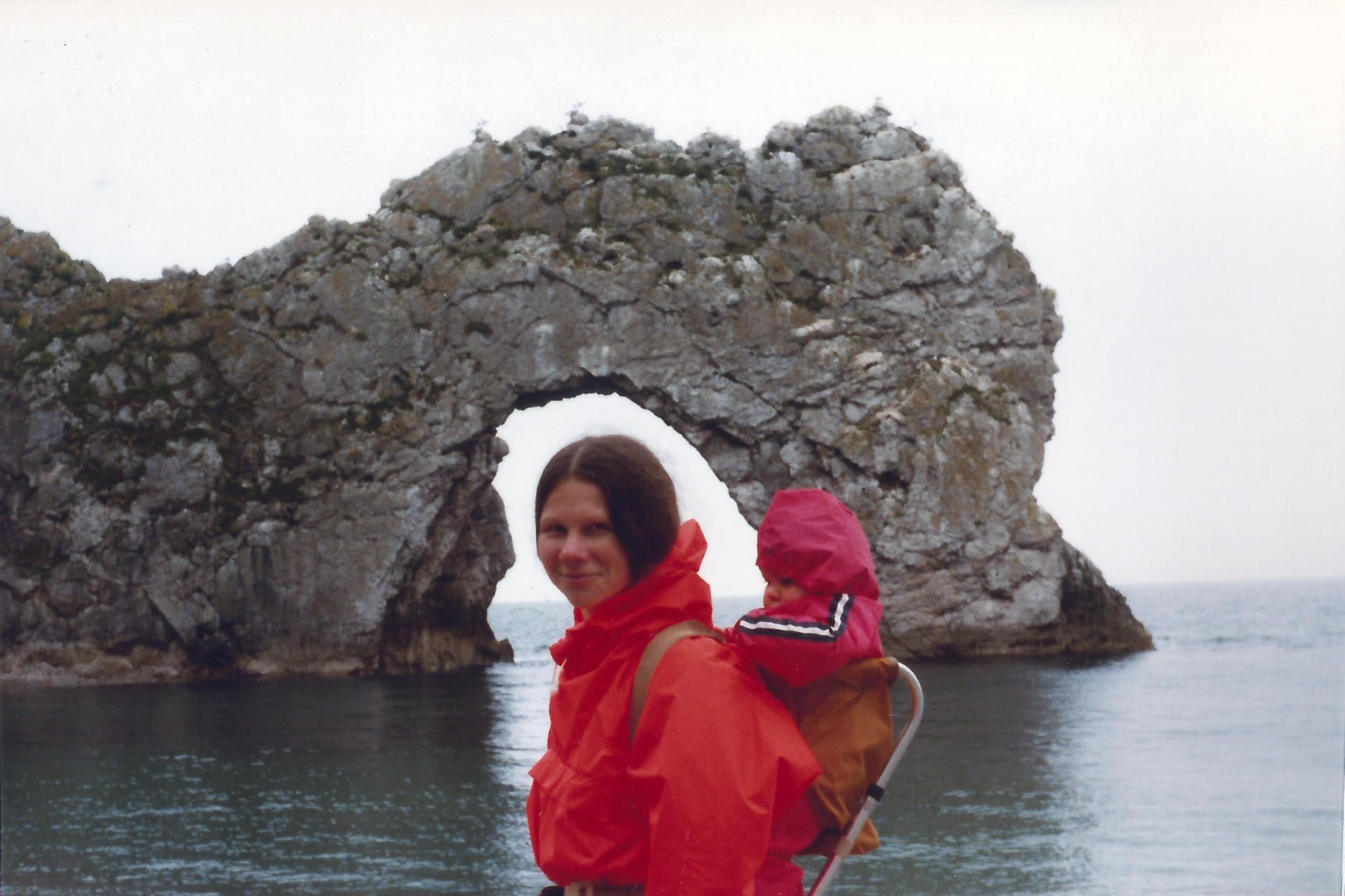 Mum & me at Durdle Door circa 1979