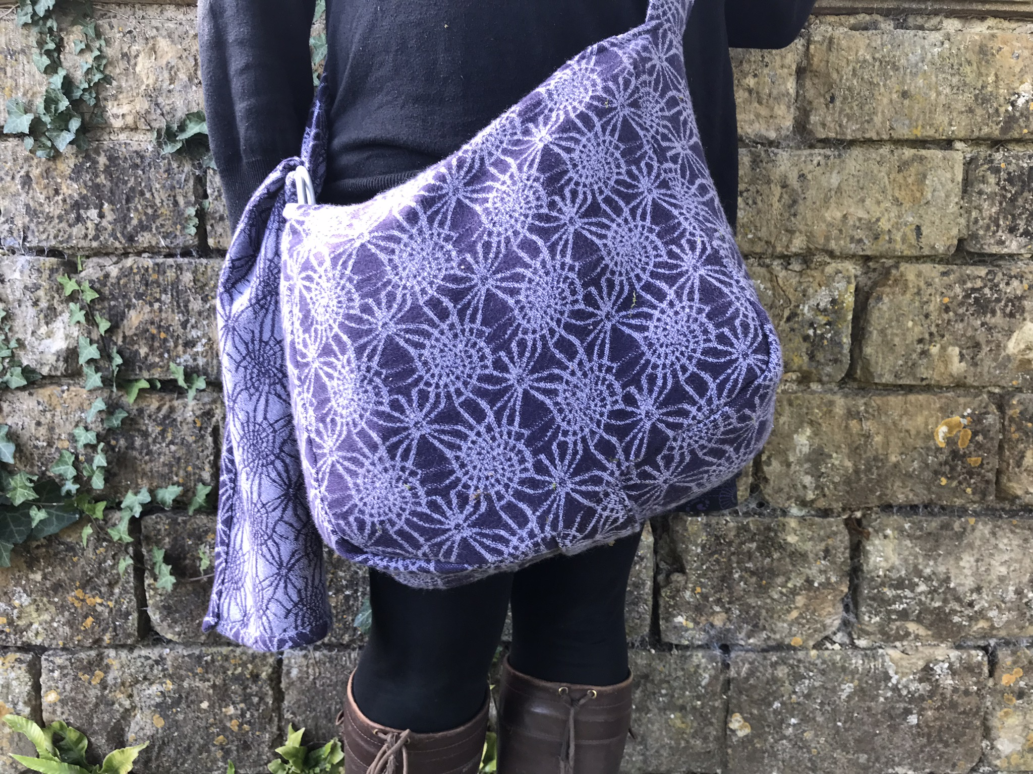 Absolute Bobbins Babywearing Bag made from Firespiral Grape Twilight Fractals woven wrap fabric