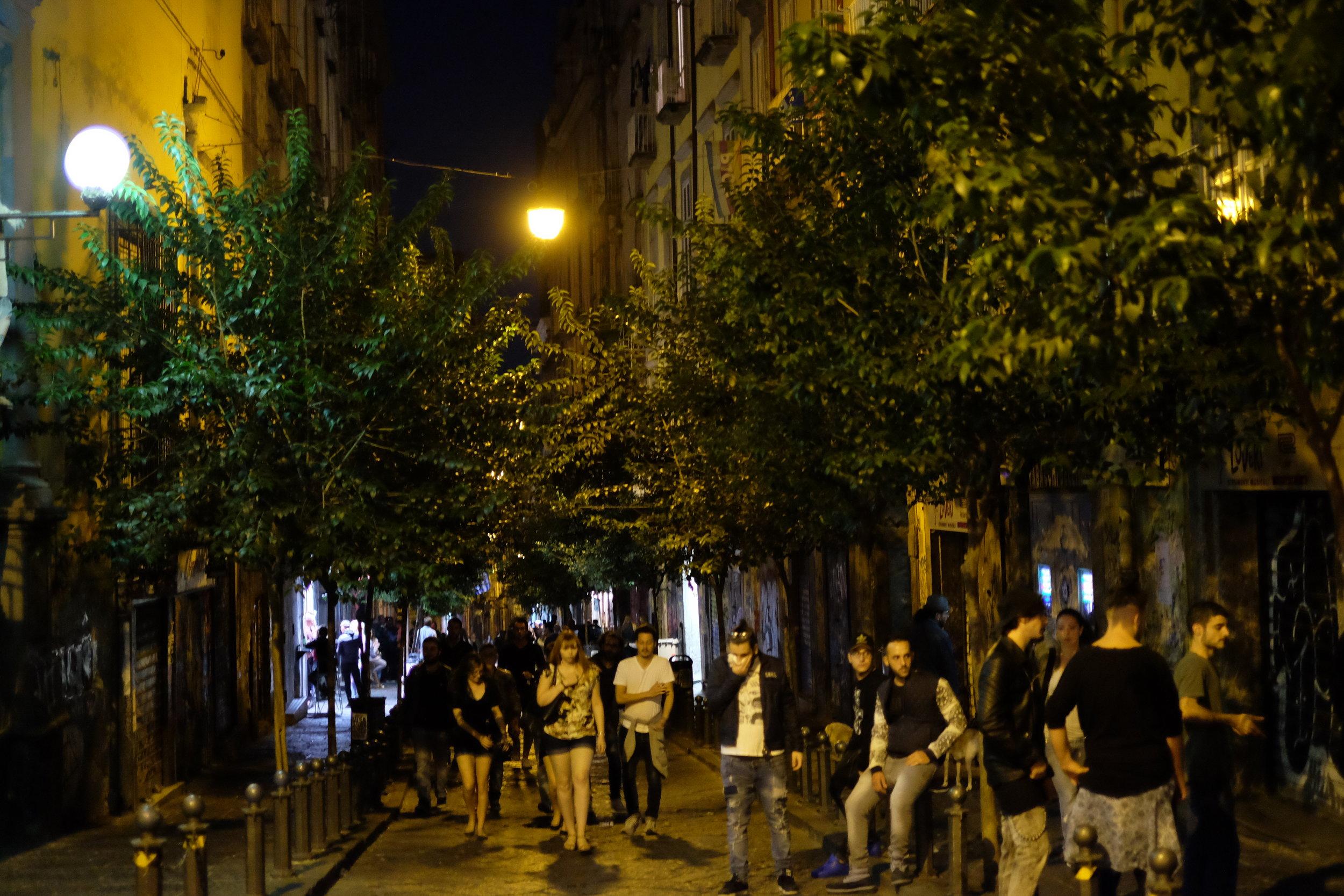 San Sebastiano street at night.
